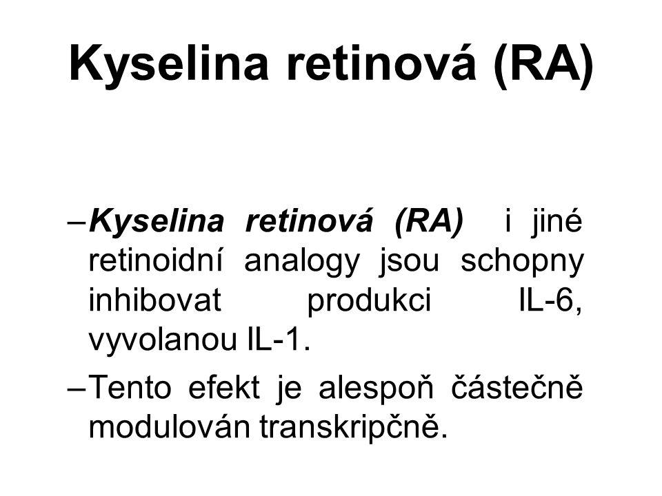 Kyselina retinová (RA) –Kyselina retinová (RA) i jiné retinoidní analogy jsou schopny inhibovat produkci IL-6, vyvolanou IL-1.