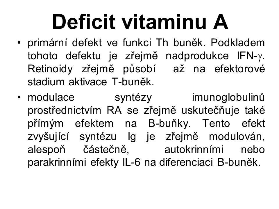 Deficit vitaminu A primární defekt ve funkci Th buněk.