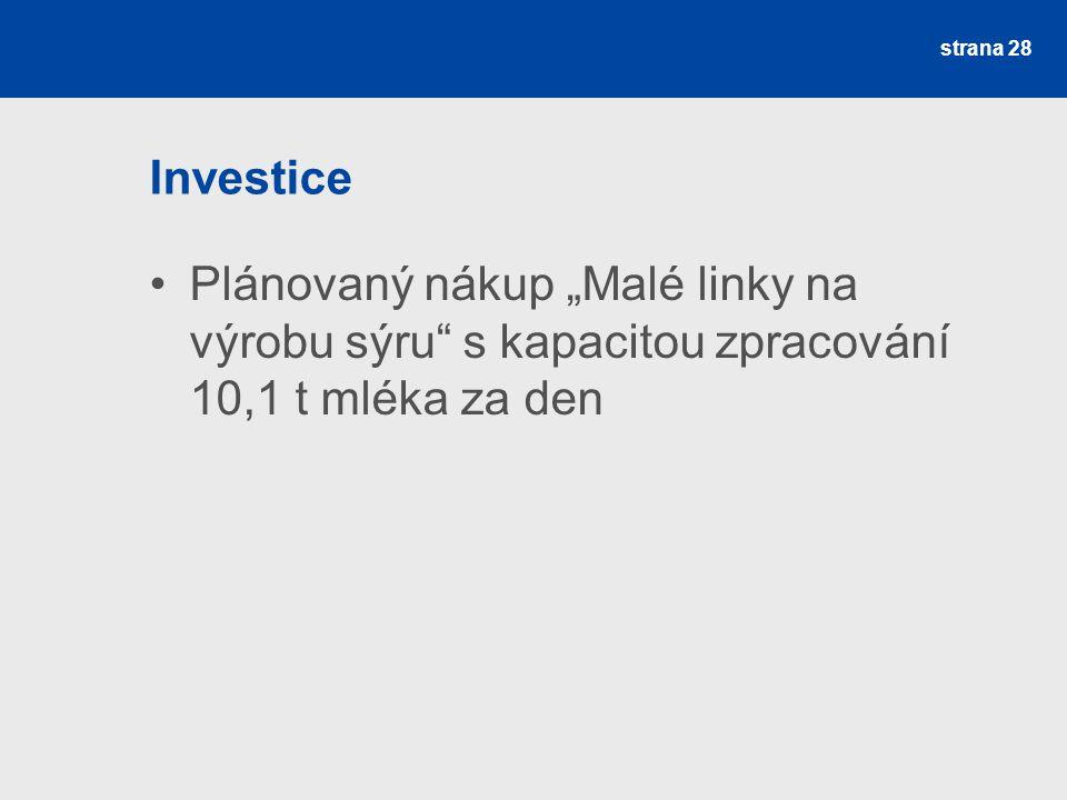 """Investice Plánovaný nákup """"Malé linky na výrobu sýru"""" s kapacitou zpracování 10,1 t mléka za den strana 28"""