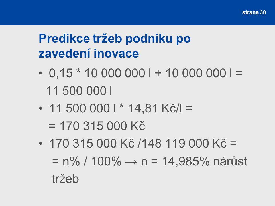 Predikce tržeb podniku po zavedení inovace 0,15 * 10 000 000 l + 10 000 000 l = 11 500 000 l 11 500 000 l * 14,81 Kč/l = = 170 315 000 Kč 170 315 000