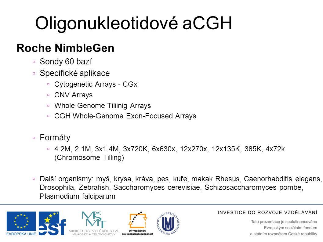 Oligonukleotidové aCGH Roche NimbleGen  Sondy 60 bazí  Specifické aplikace  Cytogenetic Arrays - CGx  CNV Arrays  Whole Genome Tiliinig Arrays 