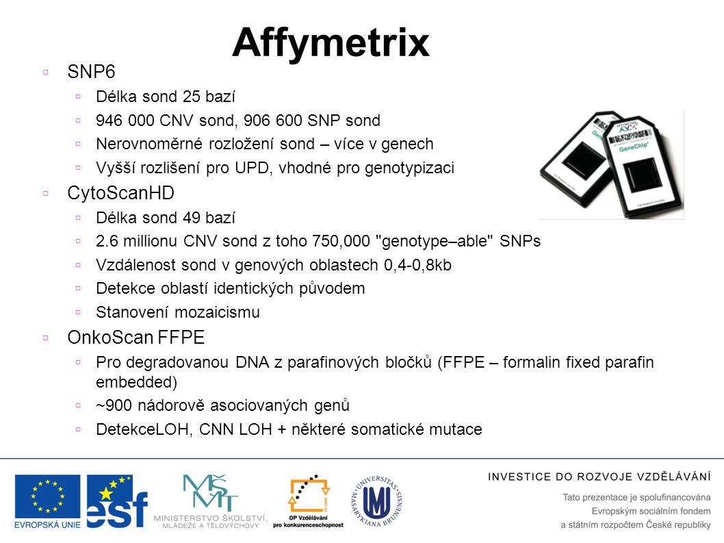 Affymetrix  SNP6  Délka sond 25 bazí  946 000 CNV sond, 906 600 SNP sond  Nerovnoměrné rozložení sond – více v genech  Vyšší rozlišení pro UPD, v