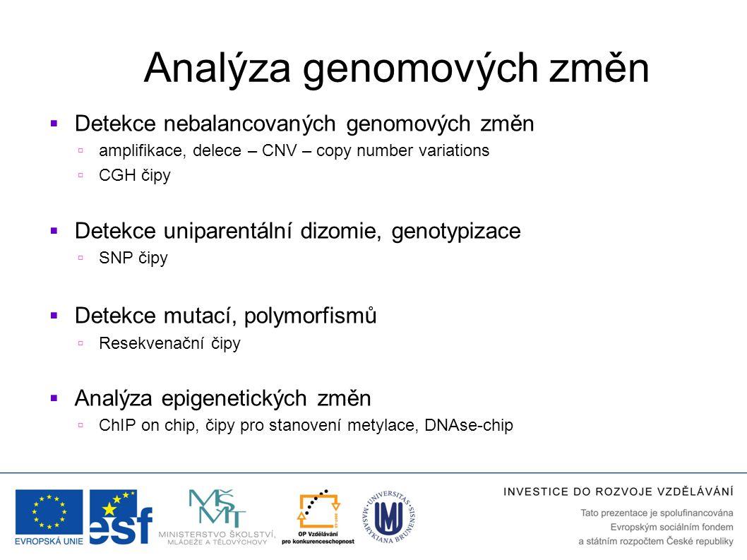 Analýza genomových změn  Detekce nebalancovaných genomových změn  amplifikace, delece – CNV – copy number variations  CGH čipy  Detekce uniparentá