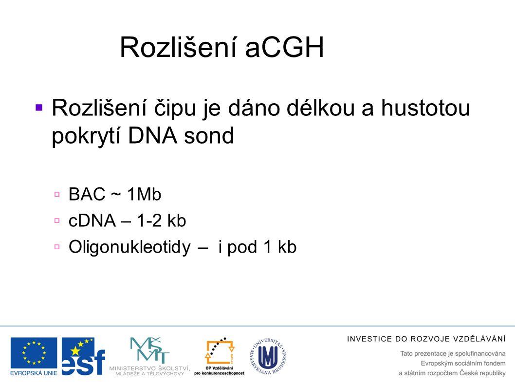 """Platformy aCGH  Cílené  Analýza vybraných """"hot spot oblastí spojených s konkrétním onemocněním  Chromozómové  Celogenomové  Sondy rozmístěné  rovnoměrně po genomu  v určitých intervalech  tilling arrays – přesné mapování delecí, translokací"""