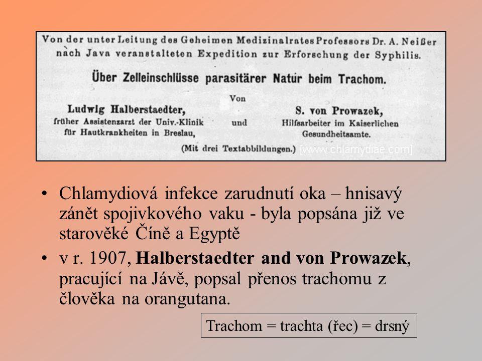 Chlamydiová infekce zarudnutí oka – hnisavý zánět spojivkového vaku - byla popsána již ve starověké Číně a Egyptě v r.