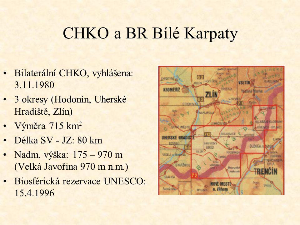 CHKO a BR Bílé Karpaty Bilaterální CHKO, vyhlášena: 3.11.1980 3 okresy (Hodonín, Uherské Hradiště, Zlín) Výměra 715 km 2 Délka SV - JZ: 80 km Nadm. vý