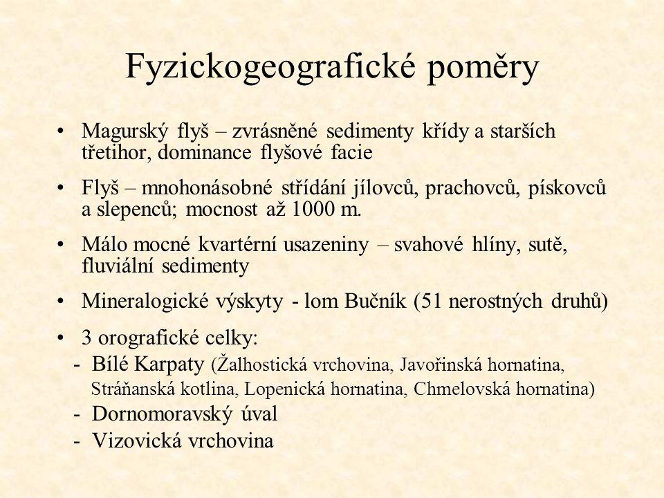 Fyzickogeografické poměry Magurský flyš – zvrásněné sedimenty křídy a starších třetihor, dominance flyšové facie Flyš – mnohonásobné střídání jílovců,