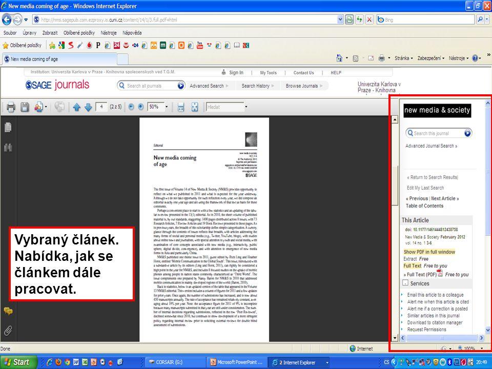 4343 Vybraný článek. Nabídka, jak se článkem dále pracovat.