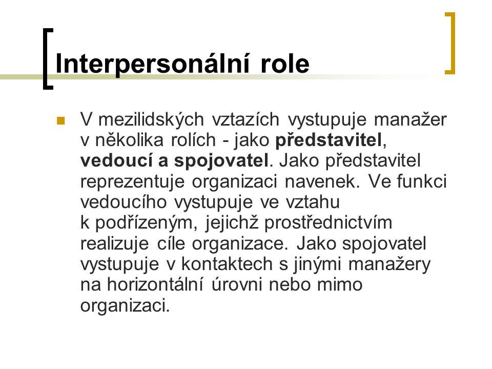 Interpersonální role V mezilidských vztazích vystupuje manažer v několika rolích - jako představitel, vedoucí a spojovatel.
