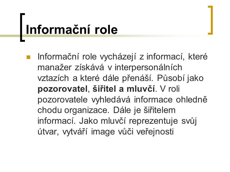 Informační role Informační role vycházejí z informací, které manažer získává v interpersonálních vztazích a které dále přenáší.