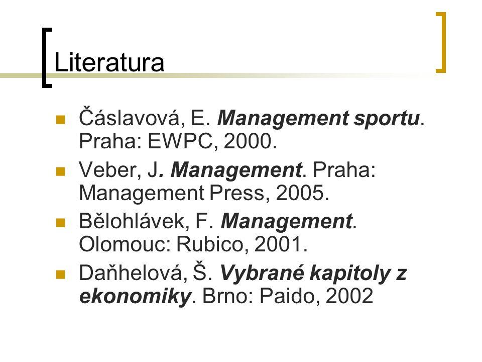 Literatura Čáslavová, E.Management sportu. Praha: EWPC, 2000.