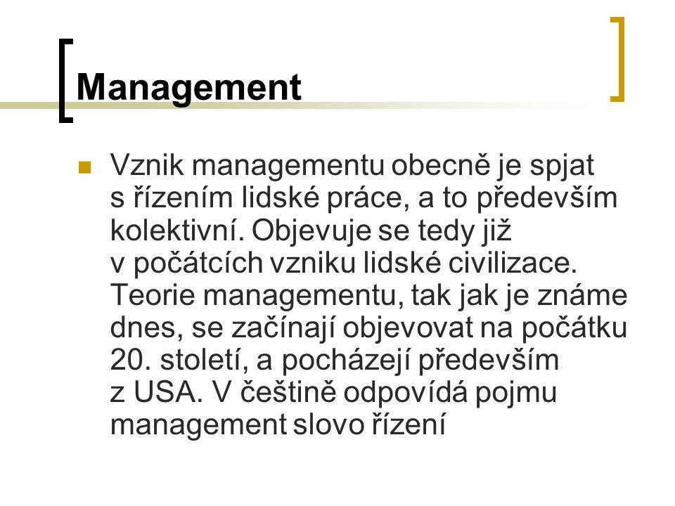 Management Vznik managementu obecně je spjat s řízením lidské práce, a to především kolektivní.
