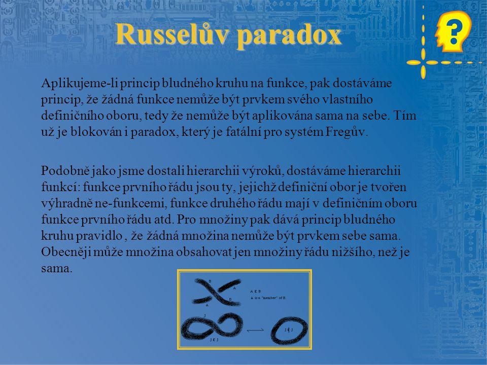 Russelův paradox Aplikujeme-li princip bludného kruhu na funkce, pak dostáváme princip, že žádná funkce nemůže být prvkem svého vlastního definičního