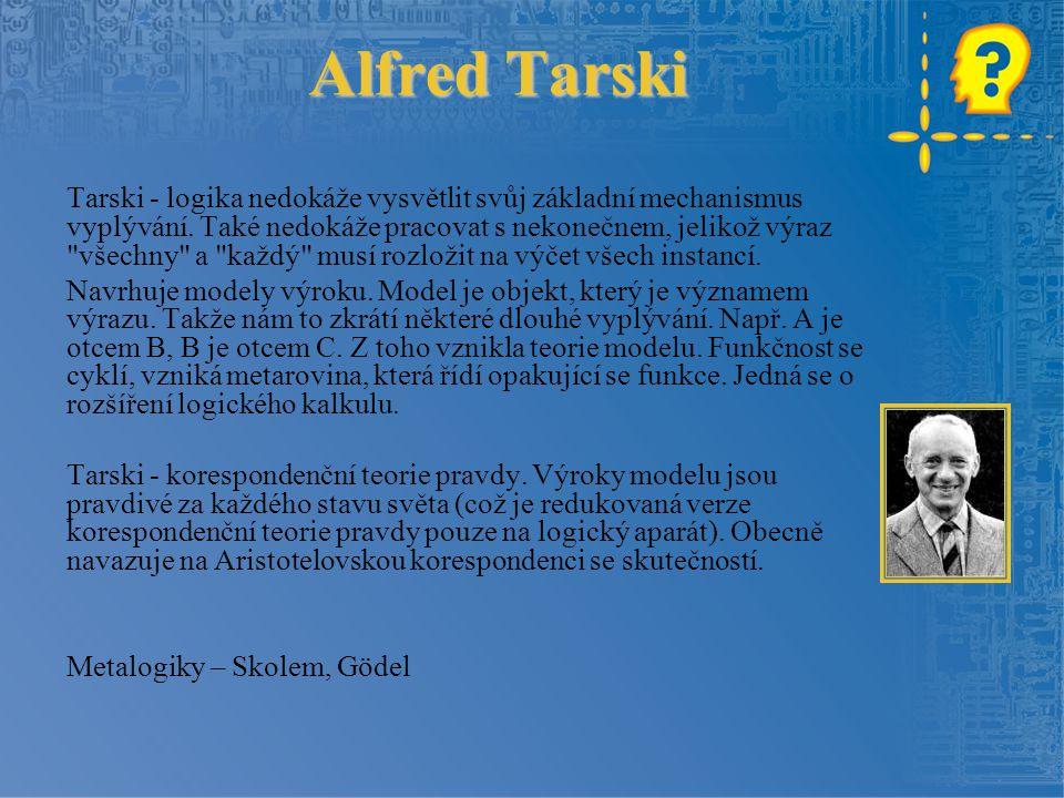 Alfred Tarski Tarski - logika nedokáže vysvětlit svůj základní mechanismus vyplývání. Také nedokáže pracovat s nekonečnem, jelikož výraz