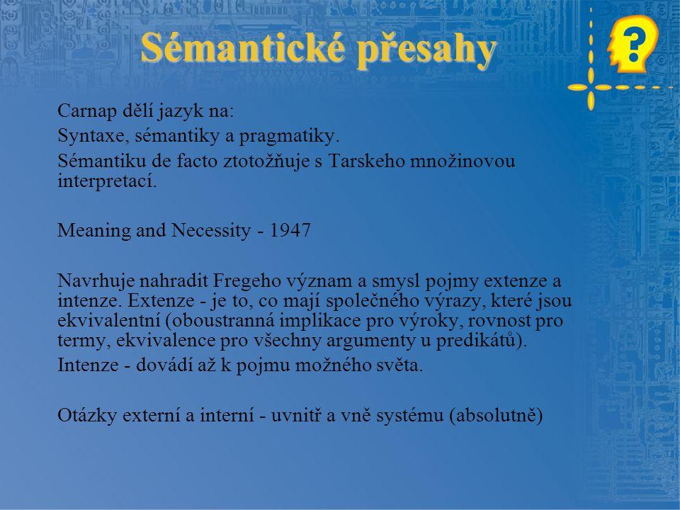 Sémantické přesahy Carnap dělí jazyk na: Syntaxe, sémantiky a pragmatiky. Sémantiku de facto ztotožňuje s Tarskeho množinovou interpretací. Meaning an