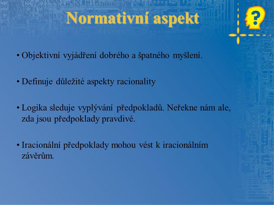 Normativní aspekt Objektivní vyjádření dobrého a špatného myšlení.