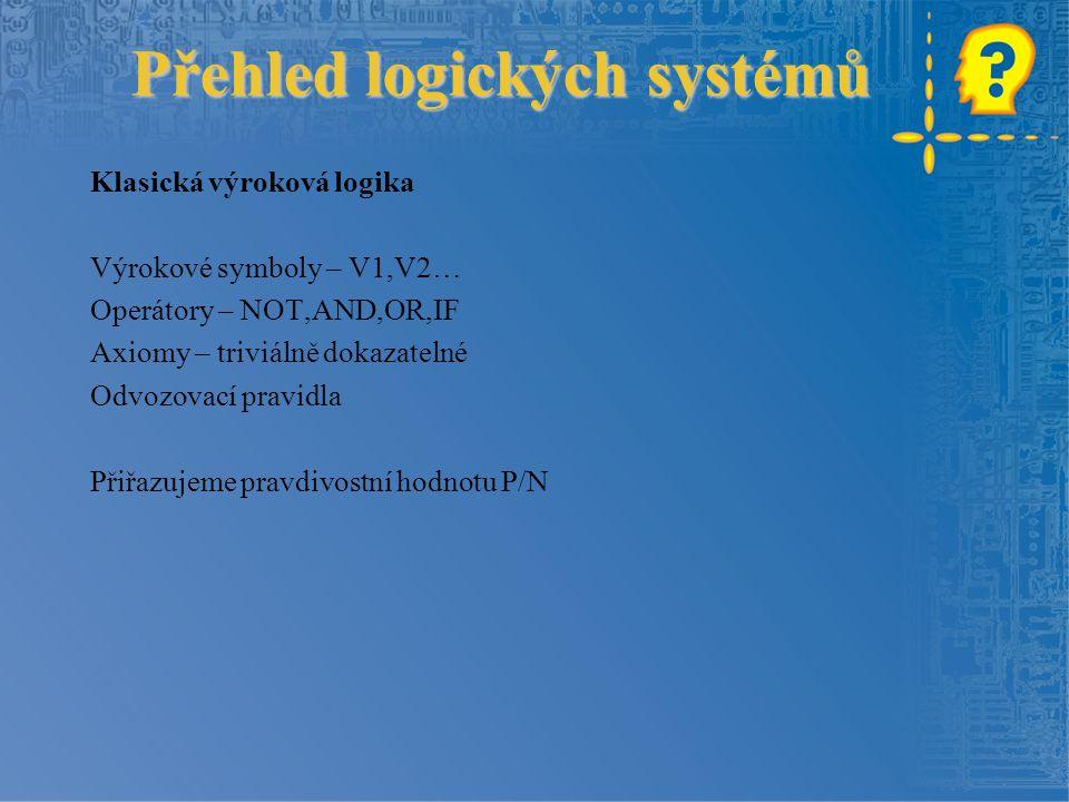 Přehled logických systémů Klasická výroková logika Výrokové symboly – V1,V2… Operátory – NOT,AND,OR,IF Axiomy – triviálně dokazatelné Odvozovací pravidla Přiřazujeme pravdivostní hodnotu P/N