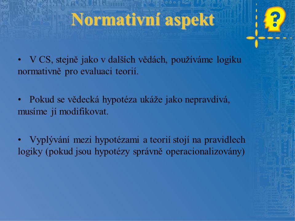 Normativní aspekt V CS, stejně jako v dalších vědách, používáme logiku normativně pro evaluaci teorií. Pokud se vědecká hypotéza ukáže jako nepravdivá