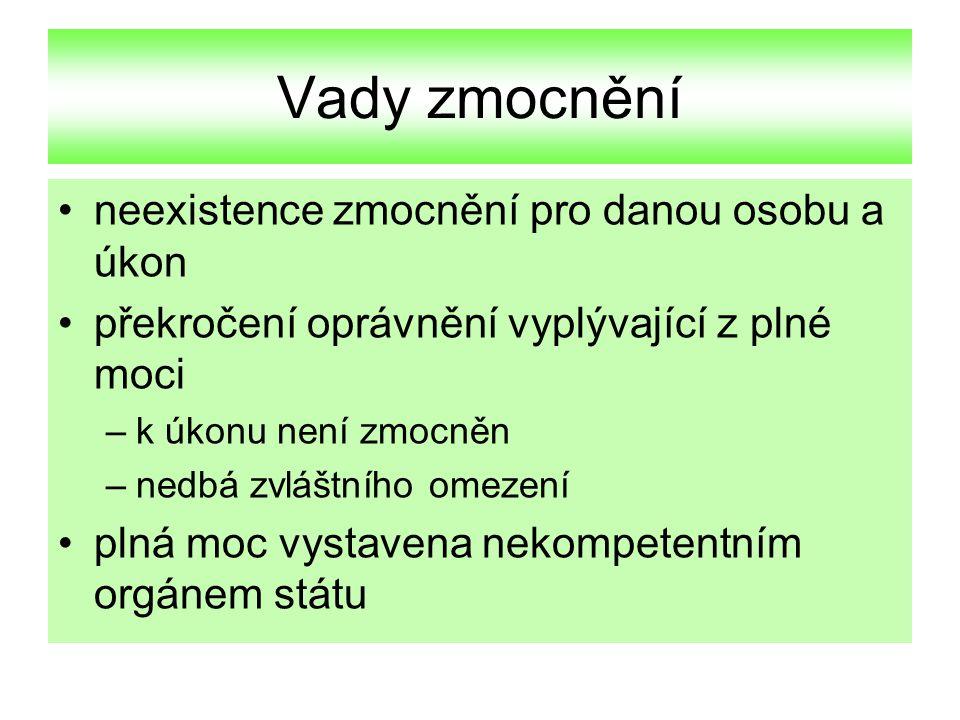 Vydávání plných mocí v ČR podpis resortní smlouvy: člen vlády podpis vládní smlouvy: ministr zahr.