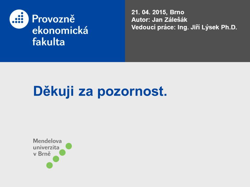 Děkuji za pozornost. 21. 04. 2015, Brno Autor: Jan Zálešák Vedoucí práce: Ing. Jiří Lýsek Ph.D.