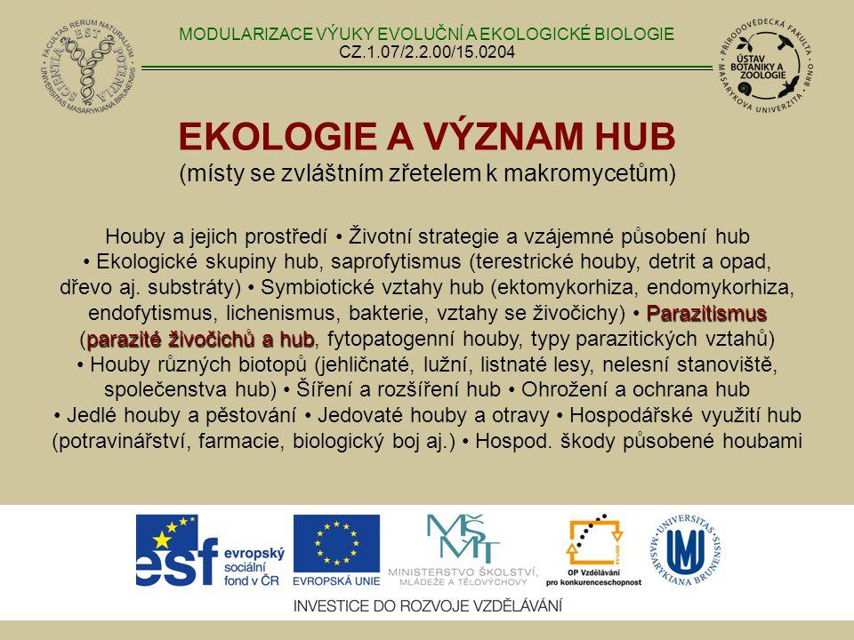 EKOLOGIE A VÝZNAM HUB (místy se zvláštním zřetelem k makromycetům) Parazitismus parazité živočichů a hub Houby a jejich prostředí Životní strategie a