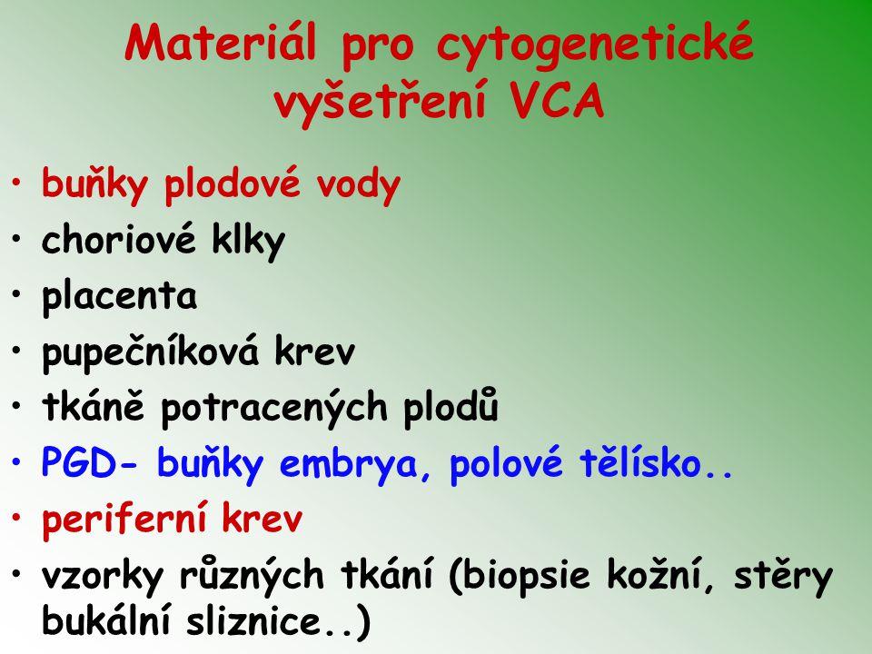 Materiál pro cytogenetické vyšetření VCA buňky plodové vody choriové klky placenta pupečníková krev tkáně potracených plodů PGD- buňky embrya, polové