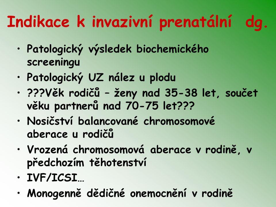 Indikace k invazivní prenatální dg. Patologický výsledek biochemického screeningu Patologický UZ nález u plodu ???Věk rodičů – ženy nad 35-38 let, sou