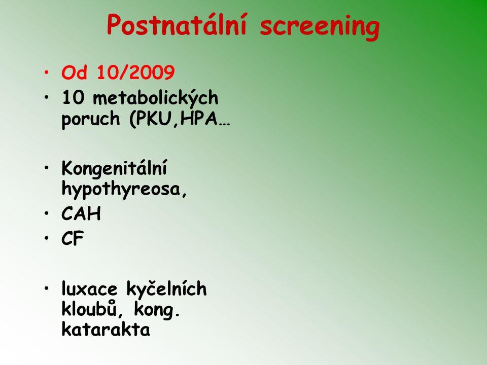 Postnatální screening Od 10/2009 10 metabolických poruch (PKU,HPA… Kongenitální hypothyreosa, CAH CF luxace kyčelních kloubů, kong. katarakta
