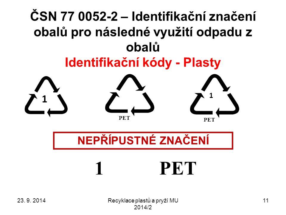 ČSN 77 0052-2 – Identifikační značení obalů pro následné využití odpadu z obalů Identifikační kódy - Plasty Recyklace plastů a pryží MU 2014/2 11 1 PE