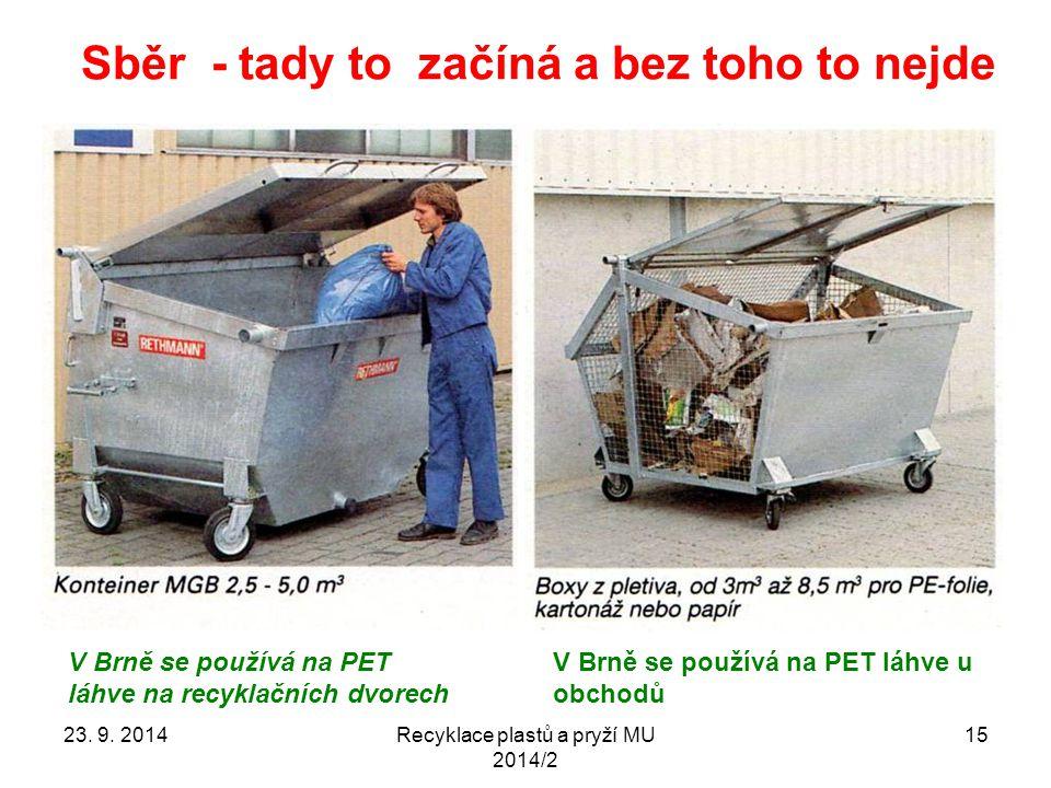 Sběr - tady to začíná a bez toho to nejde Recyklace plastů a pryží MU 2014/2 15 V Brně se používá na PET láhve u obchodů V Brně se používá na PET láhv