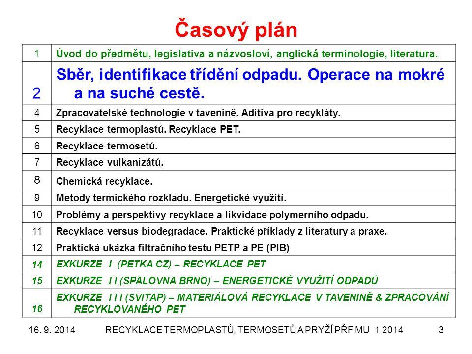 RECYKLACE TERMOPLASTŮ, TERMOSETŮ A PRYŽÍ PŘF MU 1 20143 Časový plán 1Úvod do předmětu, legislativa a názvosloví, anglická terminologie, literatura. 2