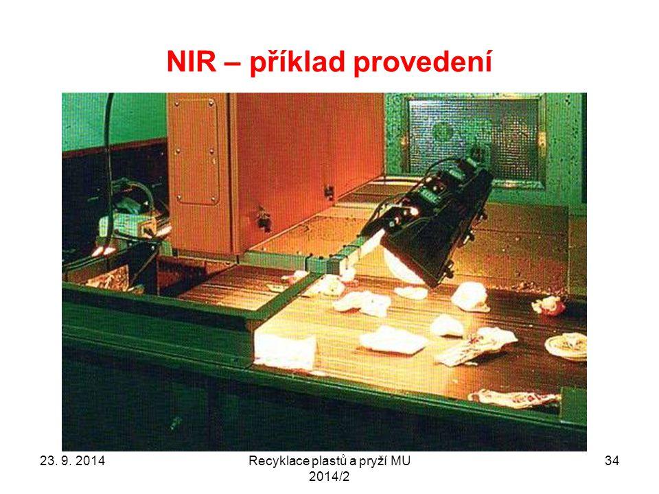 NIR – příklad provedení Recyklace plastů a pryží MU 2014/2 3423. 9. 2014