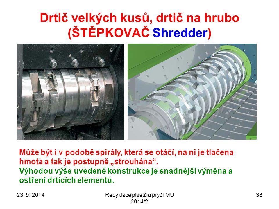 Drtič velkých kusů, drtič na hrubo (ŠTĚPKOVAČ Shredder) Recyklace plastů a pryží MU 2014/2 3823. 9. 2014 Může být i v podobě spirály, která se otáčí,