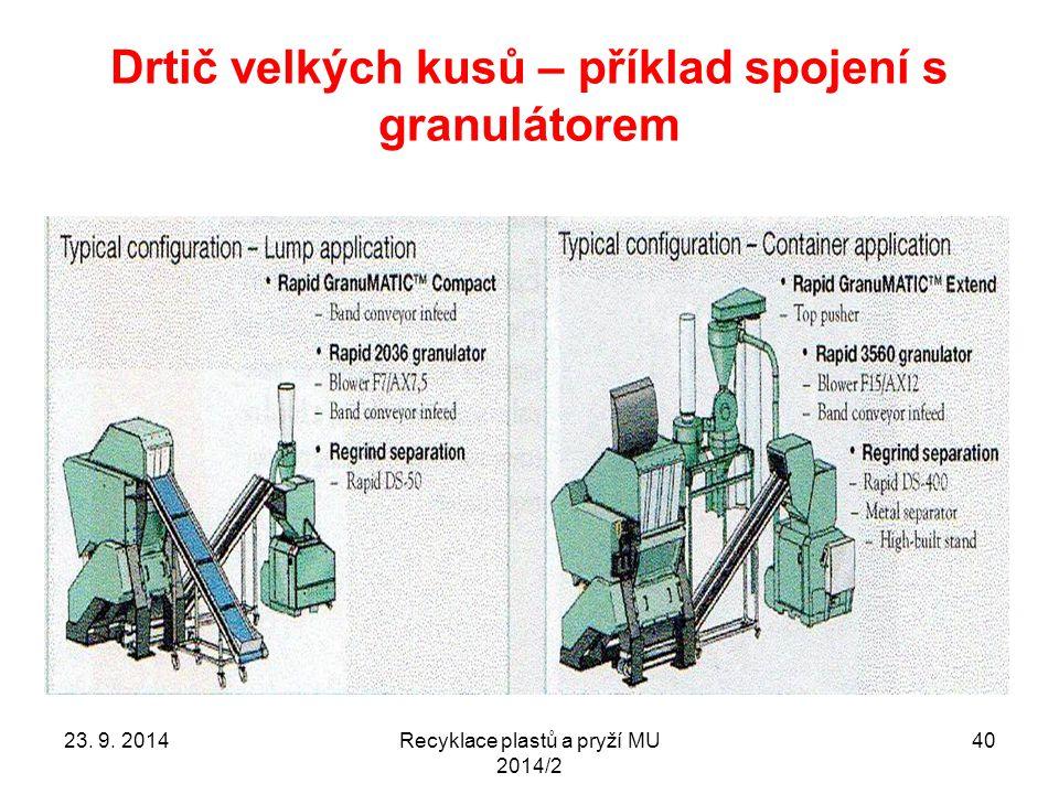 Drtič velkých kusů – příklad spojení s granulátorem Recyklace plastů a pryží MU 2014/2 4023. 9. 2014