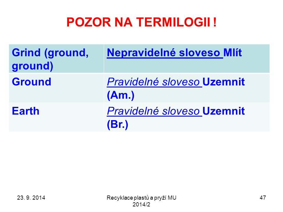 POZOR NA TERMILOGII ! Recyklace plastů a pryží MU 2014/2 47 Grind (ground, ground) Nepravidelné sloveso Mlít GroundPravidelné sloveso Uzemnit (Am.) Ea