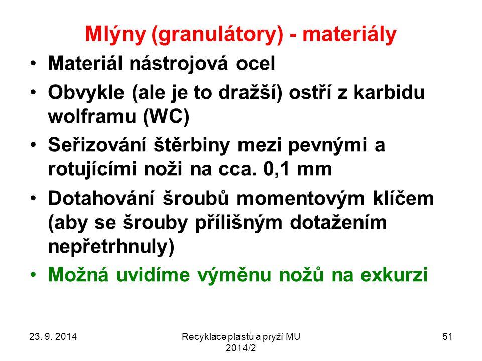 Mlýny (granulátory) - materiály Materiál nástrojová ocel Obvykle (ale je to dražší) ostří z karbidu wolframu (WC) Seřizování štěrbiny mezi pevnými a r