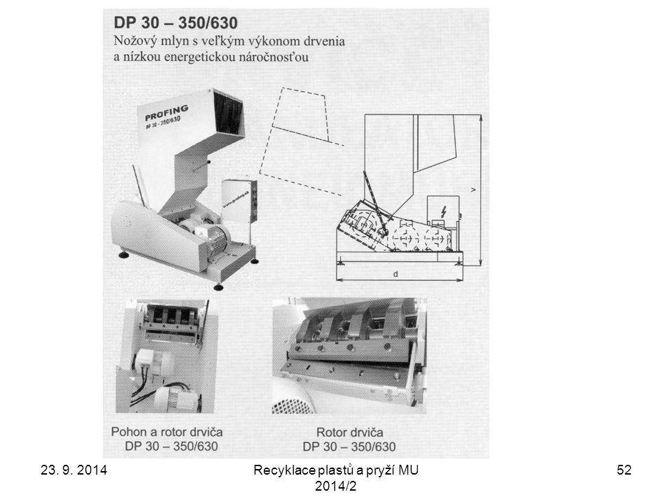 Recyklace plastů a pryží MU 2014/2 52