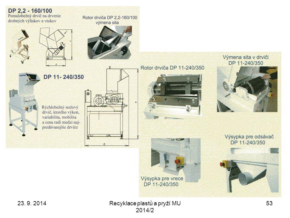 23. 9. 2014Recyklace plastů a pryží MU 2014/2 53