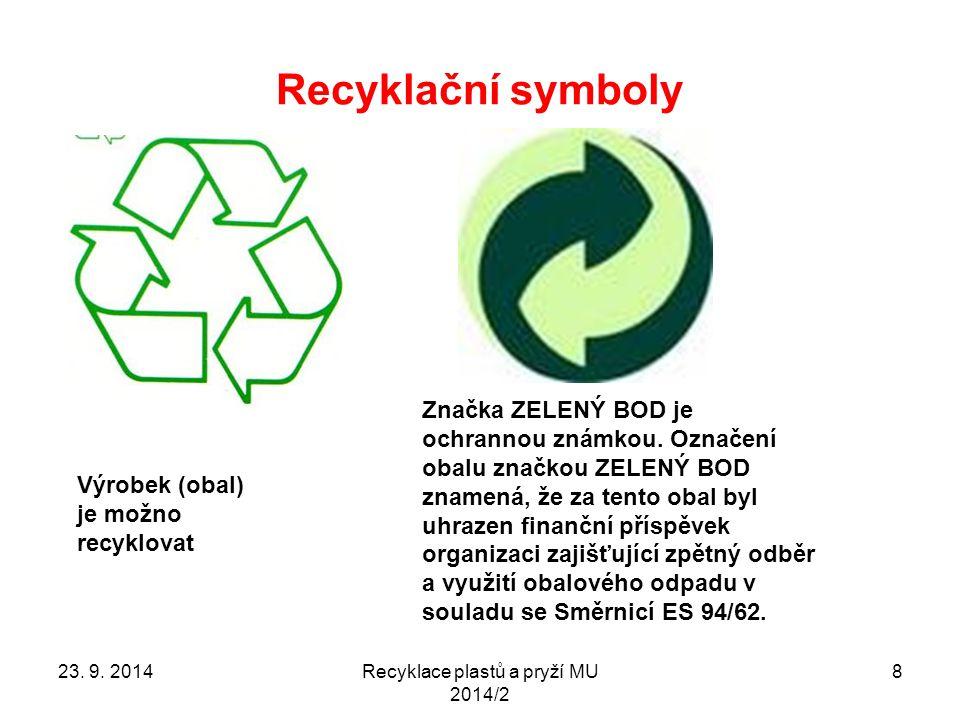 Recyklační symboly Recyklace plastů a pryží MU 2014/2 8 Výrobek (obal) je možno recyklovat Značka ZELENÝ BOD je ochrannou známkou. Označení obalu znač