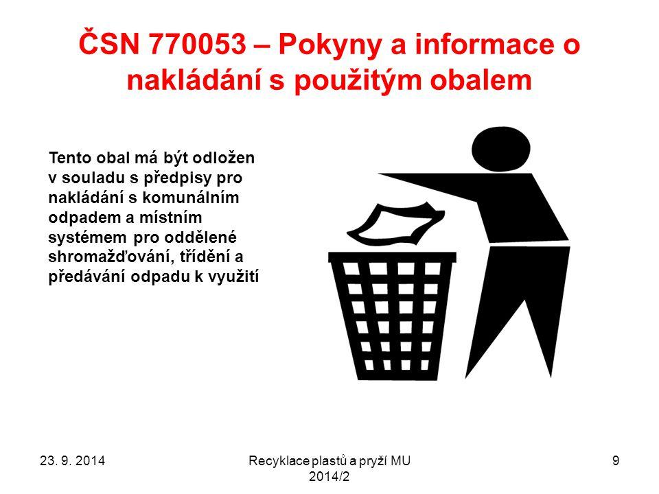 ČSN 770053 – Pokyny a informace o nakládání s použitým obalem Recyklace plastů a pryží MU 2014/2 9 Tento obal má být odložen v souladu s předpisy pro