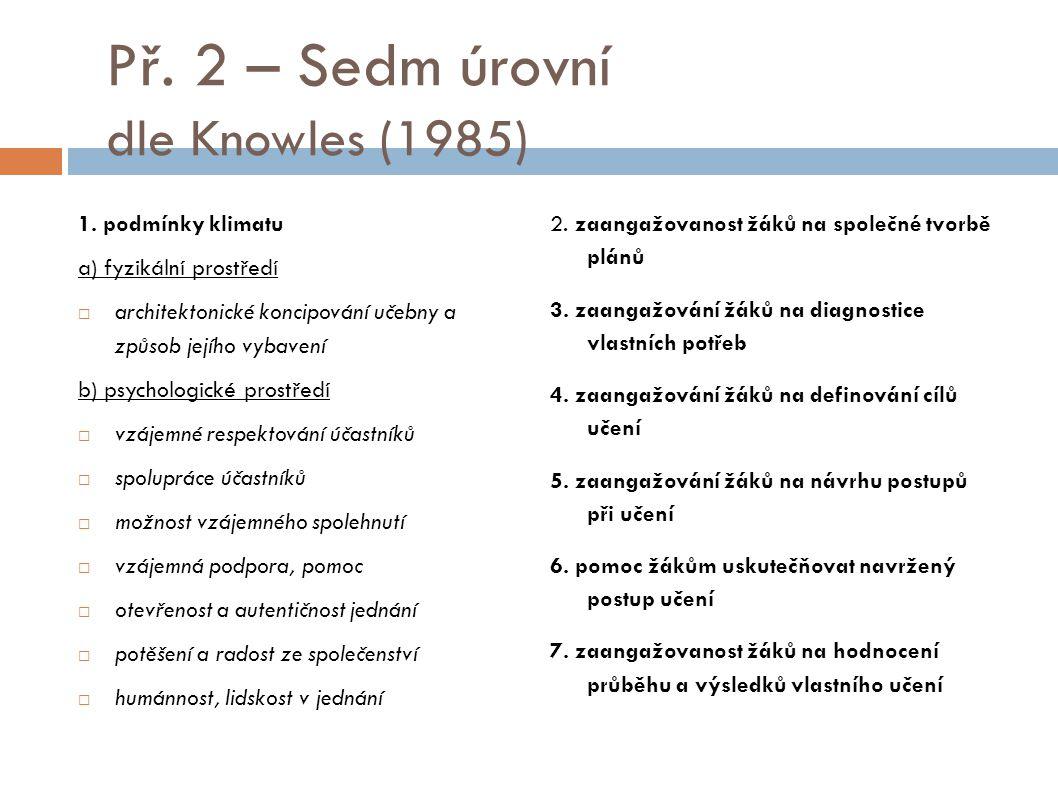 Př. 2 – Sedm úrovní dle Knowles (1985) 1. podmínky klimatu a) fyzikální prostředí  architektonické koncipování učebny a způsob jejího vybavení b) psy
