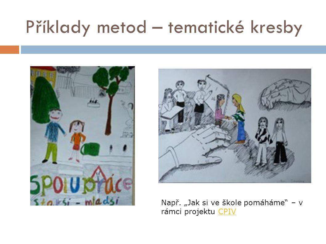 """Příklady metod – tematické kresby Např. """"Jak si ve škole pomáháme"""" – v rámci projektu CPIVCPIV"""
