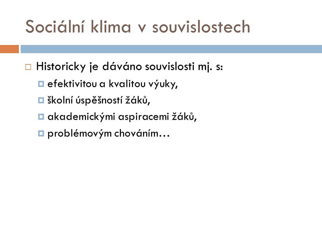 Sociální klima v souvislostech  Historicky je dáváno souvislosti mj. s:  efektivitou a kvalitou výuky,  školní úspěšností žáků,  akademickými aspi