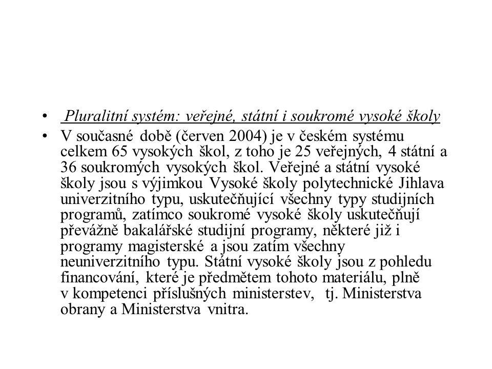 Pluralitní systém: veřejné, státní i soukromé vysoké školy V současné době (červen 2004) je v českém systému celkem 65 vysokých škol, z toho je 25 veřejných, 4 státní a 36 soukromých vysokých škol.
