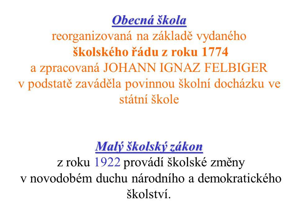 Obecná škola reorganizovaná na základě vydaného školského řádu z roku 1774 a zpracovaná JOHANN IGNAZ FELBIGER v podstatě zaváděla povinnou školní docházku ve státní škole Malý školský zákon z roku 1922 provádí školské změny v novodobém duchu národního a demokratického školství.