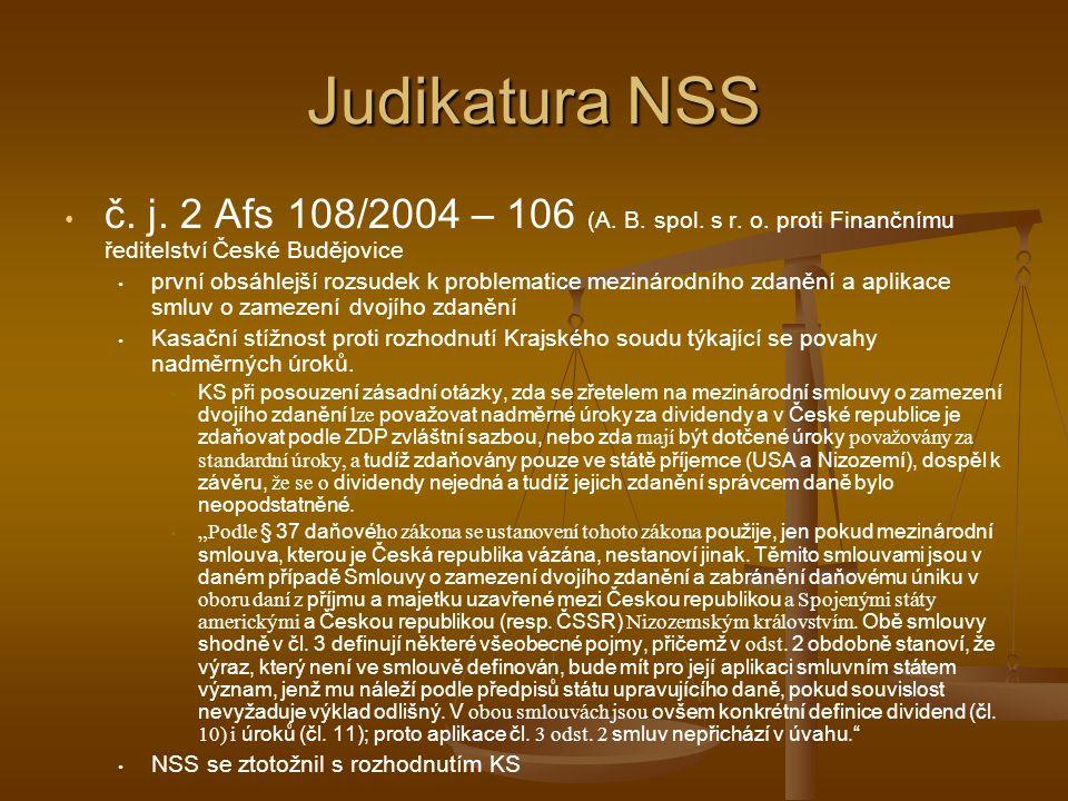 Judikatura NSS č.j. 2 Afs 108/2004 – 106 (A. B. spol.