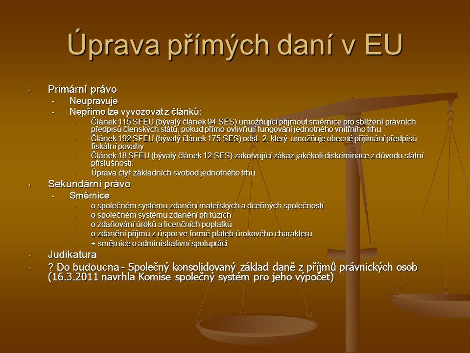 Úprava přímých daní v EU Primární právo Primární právo Neupravuje Neupravuje Nepřímo lze vyvozovat z článků: Nepřímo lze vyvozovat z článků: Článek 115 SFEU (bývalý článek 94 SES) umožňující přijmout směrnice pro sblížení právních předpisů členských států, pokud přímo ovlivňují fungování jednotného vnitřního trhu Článek 115 SFEU (bývalý článek 94 SES) umožňující přijmout směrnice pro sblížení právních předpisů členských států, pokud přímo ovlivňují fungování jednotného vnitřního trhu Článek 192 SFEU (bývalý článek 175 SES) odst.