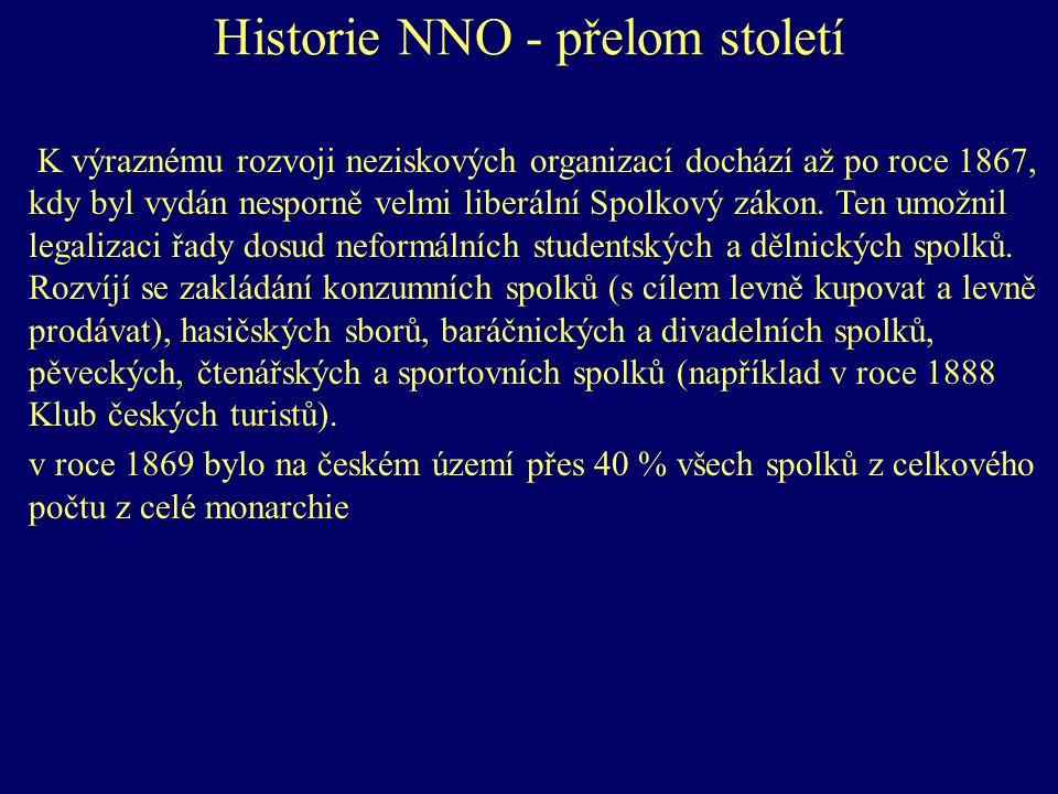 Historie NNO - přelom století K výraznému rozvoji neziskových organizací dochází až po roce 1867, kdy byl vydán nesporně velmi liberální Spolkový zákon.