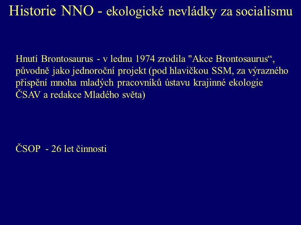 Historie NNO - ekologické nevládky za socialismu Hnutí Brontosaurus - v lednu 1974 zrodila Akce Brontosaurus , původně jako jednoroční projekt (pod hlavičkou SSM, za výrazného přispění mnoha mladých pracovníků ústavu krajinné ekologie ČSAV a redakce Mladého světa) ČSOP - 26 let činnosti