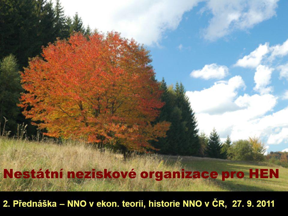Nestátní neziskové organizace pro HEN 2. Přednáška – NNO v ekon. teorii, historie NNO v ČR, 27. 9. 2011